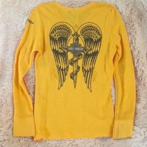 Harley-Davidson 'Angel Wings' Long Sleeve V-Neck.